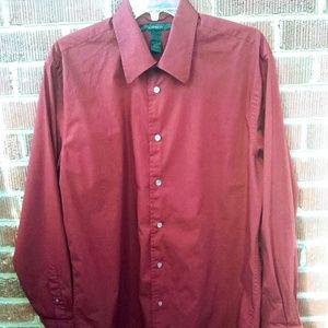 Express Brick Red Long-Sleeve Dress Shirt